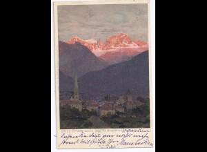 Italien, Gries Bozen gg. den Rosengarten, Südtirol Alto Adige Künstler AK.#461