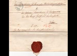 Österreich 1850, blauer K1 BRÜNN u. roter L1 RECOM. auf Einschreib-Brief n. Wien