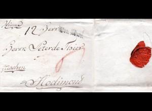 """Österreich 1786, L1 von Wien auf Porto Brief """"p. Aachen"""" n. Belgien"""