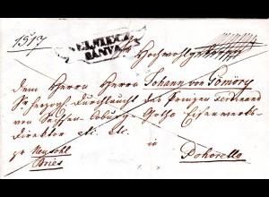 Österreich 1844, Ungarn Zier-R2 SELMIECZ BANYA auf Einschreiben Brief n Pohorela