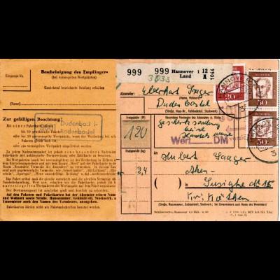 BRD 1962, Landpost Stpl. 3001 DUDENBOSTEL-RODENBOSTEL auf Paketkarte.