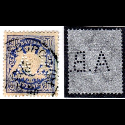 Bayern, 20 Pf. Wappen m. perfin A.B. u. Stempel v. Augsburg