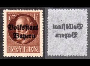 Bayern, ungebr. 75 Pf. Volksstaat m. Originalgummi u. Audruck-ABKLATSCH