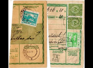 Tschechoslowakei 1919, 5 H. in Mischfr. m. Österreich 2x40 H. m. Stpl. JAROMER