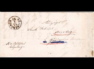 Württemberg 1870, K1 REICHENBACH m. kopfstehendem Datum auf Brief n. Ebersbach