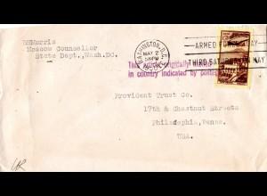 Sovjetunion 1950, 50 Kop. auf Diplomatenpost Brief n. USA m. Stempel Washington