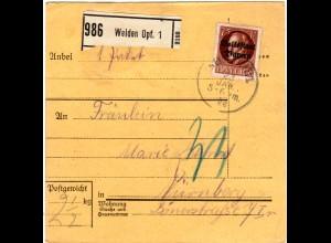Bayern 1920, EF 75 Pf. Volksstaat auf Paketkarte v. WEIDEN Opf.1