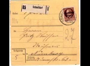 Bayern 1920, EF 75 Pf. Volksstaat auf Paketkarte v. SCHNELLDORF