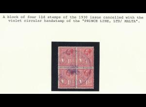 """Blauer Schiffsstpl. """"Prince Line Ltd Malta"""" auf 4er-Block 1 1/2d v. 1930. #214"""