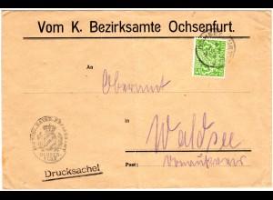 Bayern 1919, EF 5 Pf. Dienst auf Bezirksamts Brief v. OCHSENFURT