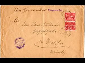 Bayern 1919, MeF 2x10 Pf. Dienst auf Gemeiderats Brief v. LANGENMOSEN