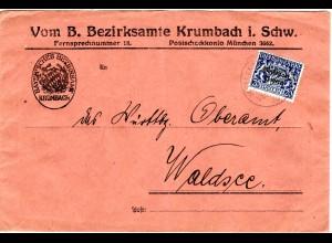 Bayern 1920, EF 20 Pf. Dienst Volksstaat auf Bezirksamts Brief v. KRUMBACH