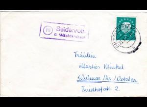 BRD 1961, Landpost Stpl. 16 SEIDENROTH über Wächtersbach klar auf Brief m. 7 Pf.