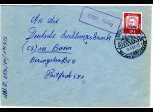 BRD 1963, Landpost Stpl. 5581 TELLIG klar auf Brief m. 20 Pf. v. BULLAY