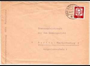 BRD 1962, Landpost Stpl. BIEBELSHEIM über Bad Kreznach auf Brief m. 20 Pf.