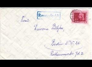 DDR 1969, Landpost Stpl. RANGSDORF A auf Brief m. 20 Pf. v. Zossen