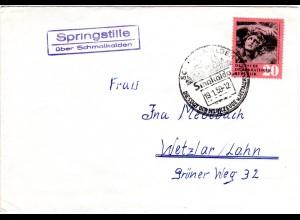 DDR 1959, Landpost Stpl. SPRINGSTILLE über Schmalkalden auf Brief m. 20 Pf