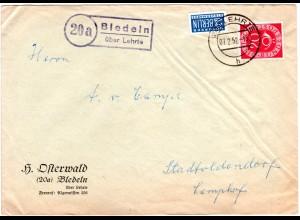 BRD 1952, Landpost Stpl. 20a BLEDELN über Lehrte auf Brief m. 20 Pf.+Notopfer