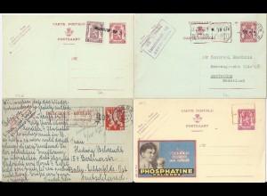 Belgien 1946/47, -10% van Aker Überdrucke auf 4 Ganzsache Karten, 2 gebr. #786