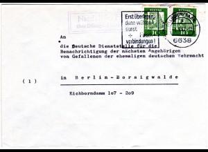 BRD 1962, Landpost Stpl. NIEDERALTDORF über Dillingen auf Brief m. 2x10 Pf.