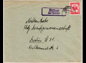 DR 1935, Landpost Stpl. WETTMAR über Hannover auf Brief m. 12 Pf. Schiller