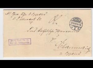 DR 1897, Oppeln Schlesien, Brief Frei lt. Avers No. 21 Kgl. Pr. Amtsger. #2270