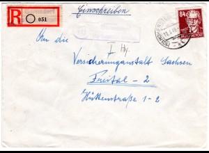 SBZ 1949, Landpost Stpl. 10 BERNSDORF über Hohenstein Ernstthal auf Einschreiben