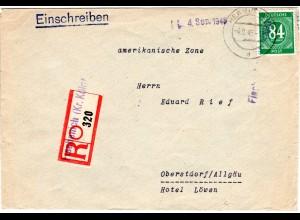 1946, 84 Pf. auf Einschreiben Brief m. Not-Reko Zettel FISCHENICH (Kr. Köln)