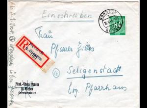 1946, 84 Pf. auf Einschreiben Brief m. Not-Reko Zettel NORDECK ü. Giessen