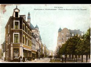 Luxemburg, ESCH / Alz., 1915 gebr. Farb-AK m. Zensur n. Lothringen