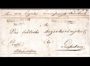 Österreich 1844, L2 OBERDRAUBURG u. GREIFENBURG auf Brief v. Kötschach