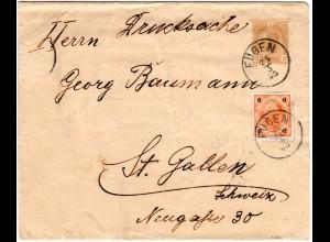 Österreich 1903, 6 H. Zusatzfrankatur auf 3 H. Streifband Ganzsache v. FÜGEN
