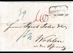 Hamburg 1834, Taxis R3 TT Hamburg auf Porto Brief i.d. Schweiz