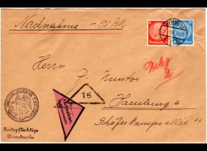 DR 1936, 8+20 Pf. auf portorichtigem Orts Nachnahme Brief v. Hamburg