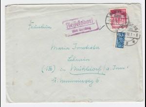 1950, Fesselsdorf über Bamberg, Landpost Stpl. auf Brief m. Notopfer. #1137