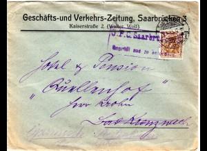 DR 1915, 3 Pf. auf Zeitungs Brief m. Zensur-R2 G.P.C. Saarbrücken