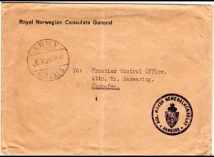 Norwegen 1947, Stpl. ARMY SIGNALS auf Vordruck Brief des Norw. Konsulats Hamburg