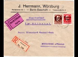 Bayern 1919, 10+50 Pf. Volksstaat auf Einschreiben Eilboten Brief v. Würzburg