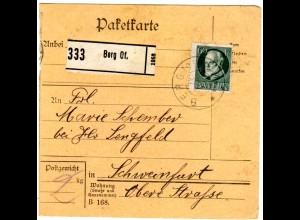 Bayern 1917, EF 60 Pf. auf Paketkarte v. Berg Oberfranken