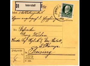 Bayern 1918, EF 60 Pf. auf Paketkarte v. IMMENSTADT