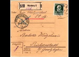 Bayern 1919, EF 60 Pf. auf Wert Paketkarte v. Würzburg 6 n. Prichsenstadt