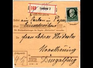 Bayern 1918, EF 60 Pf. auf Einschreiben Paketkarte v. Landshut n. Moosthenning