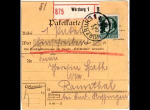 Bayern 1918, EF 60 Pf. auf Einschreiben Paketkarte v. Würzburg n. Ramsthal
