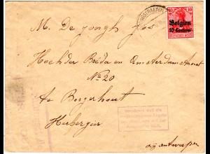 Belgien 1916, 10 C./10 Pf. auf Zensur Brief m. Verzögert-Stpl. v. Hoogstraeten