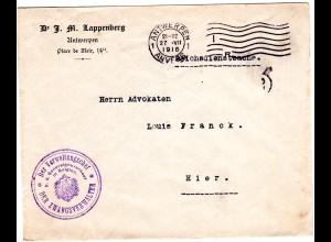 Belgien 1916, Reichsdienstsache Brief Antwerpen, Siegelstempel Zwangsverwalter