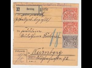 Bayern 1917, 25+Paar 30 Pf. Dienst auf Paketkarte v. Berching. #2717