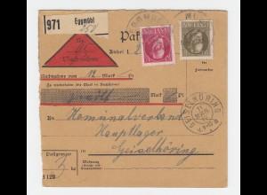 Bayern 1917, 10-40 Pf. auf Nachnahme Paketkarte v. Eggmühl n. Geiselhöring #2793