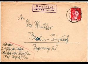 DR 1942, Pommern-Landpost Stpl. RÖHLSHOF über Schivelbein auf Brief m. 12 Pf.