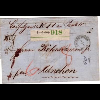 Sachsen 1862, K2 FRANKENBERG auf Franko-Paketbegleitbrief n. Bayern