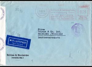 DR 1941, Hamburg Firmenfreistpl. Schües&Nordström auf Zensur Brief n. Finnland